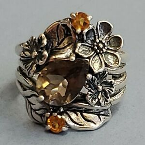Size 6 Sterling Silver ISREAL PZ Citrine, Smoke Topaz Flower Ring beautiful