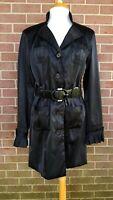 2b bebe Black Trench Belted Coat Jacket Shoulder Pad Size L