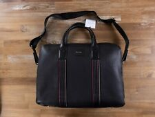 PAUL SMITH black leather briefcase bag with shoulder strap authentic - NWT