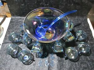 Vintage Indiana Carnival Glass Princess Punch Bowl Harvest Grape 12 Cups/Hooks