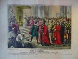 GRANDE LITHO IMAGERIE POPULAIRE COULEUR ROME PAPE VATICAN CONCILE ITALIE 1870