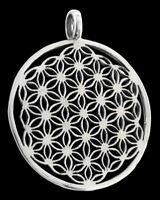 Blume des Lebens Anhänger Groß Silber Gothic Schmuck - NEU