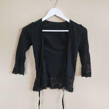 Stunning Ladies Metalicus Black Cardigan Lace Tie Up Short Sleeve