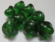 30 Vintage Czech Glass Little Green Spinning Top-Like Bicone Beads 7.5mm-8mm