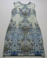 Karin Stevens Women's Sleeveless Sheath Dress 14 Blue Multicolor Floral Paisley