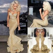 Sexy Gold Sequins Prom Dresses Formal Mermaid Long Evening Gowns Custom Made