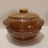 Vintage Pottery Brown Cookie Jar Old Western Look Hull or McCoy?