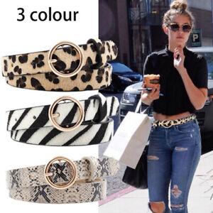 Leopard Belt Women Snake Zebra Print Thin Horsehair Waist Belt Gold RingBuckl.ji