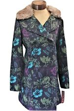 NWT Beautiful Merona Floral Tweed 3/4 Length Ladies Coat Remove Faux Fur Collar