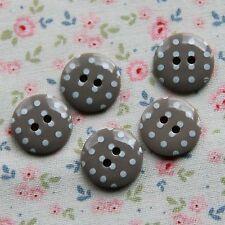 15 Botones De Lunares Guijarro Gris manchada 15 mm