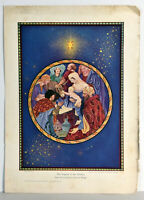 """11"""" Antique Religious Christian Print Nativity Legend of the Donkey Wright"""