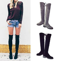 Women's Lady Over knee High Long Boots Thigh Lace Up Stretch Flat Knight Shoes