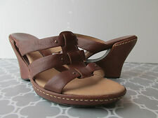 Sofft Womens Size 10 Caramel Brown Strappy Cut-Out Wedge Leather Sandals