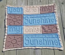 You Are My Sunshine handcrafted crochet knit blanket, custom made to order item