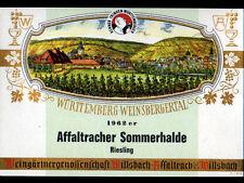ETIQUETTE ANCIENNE Chromo de VIN RIESLING / WURTTEMBERG-WEINSBERGERSTAL en 1962
