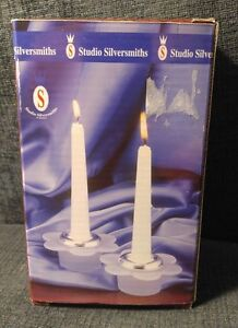 STUDIO SILVERSMITHS SET OF 2 CANDLE HOLDERS Frosted White NIB w/candles