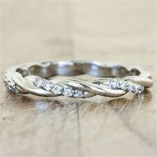 White Topaz 925 Silver Women Jewelry Wedding Engagement Ring Gift Sz 5-10