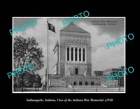 OLD POSTCARD SIZE PHOTO INDIANAPOLIS INDIANA VIEW OF THE WAR MEMORIAL c1930