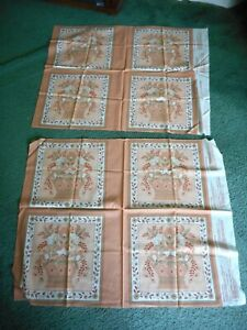 Panels, orange, brown, tan and white flowers in baskets - 2 pieces, 8 panels
