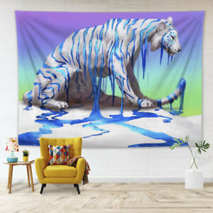 Creative Blue Paint White Tiger Tapestry Wall Hanging Living Room Bedroom Dorm