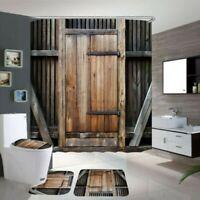 4Pcs/Set Wasserfest Duschvorhang Vintage Holz Tür Toilettensitz Abdeckung Matte
