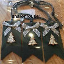 3 X Handmade Christmas Gift Tags Deco Shabby Chic Wood Tree Bows Silver Green