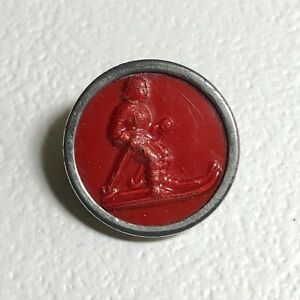 1940's Skier Red Celluloid Button with Chrome Rim, Human Transportation