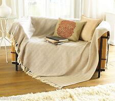 Herringbone Fringed Cream Cotton Throw Chair Sofa Couch Extra Large 228 x 254cm