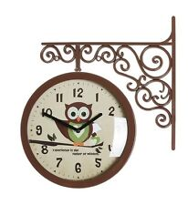Antique Art Design Double Sided Wall Clock Station Clock Home Decor - Owl(Brown)