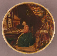 Antique Signed Snuff Box with a Miniature of a Lady on the Piano & also a Cello