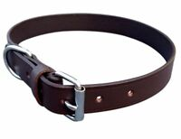 NEW HAND-STITCHED BROWN SOFT LEATHER DOG COLLAR TRAINING MEDIUM COLLIE SPANIEL