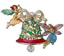 NEW KIRKS FOLLY CHRISTMAS FAIRY BELL PIN / PENDANT GOLDTONE