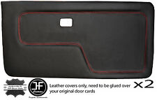 RED STITCH 2X FRONT DOOR CARD LTHR COVERS FITS BMW 3 SERIES E30 COUPE STYLE 2