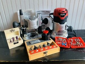 Skil 2-1/4 HP Plunge & Fixed Base Router Combo Tool Kit #1830 With 27 Bits (1F)