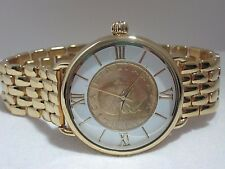 Bellezza Lira Coin Bronze Link Bracelet Watch  White Face