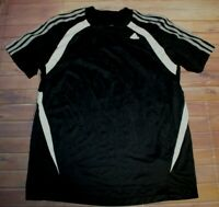 Adidas Climacool 3 Gray Stripes Short Sleeve Shirt Mens Medium Black Athletic