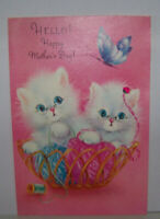 Vintage Greeting Card Norcross New York Mother's Day Kittens Yarn Cats Butterfly