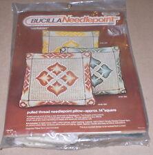 """1977 Bucilla """"Harmony"""" Blue Bargello Pulled Thread Needlepoint Pillow Kit NIP"""