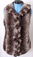 Damselle New York Ruffle Hook Clasp Roses Flower Faux Fur Vest Women's M