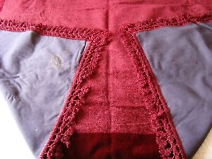 Beautiful ANTIQUE Vintage 20's Red Chenille Velvet Fringed Table Cover Bed Throw