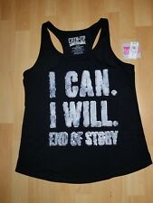 "NWT Chin Up Apparel ""I Can I Will End Of Story"" Black racerback Tank Large"