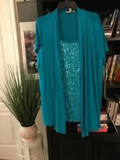 Women's Teal Green Cardigan Blouse Top Rayon Spandex by Kenar Woman NEW #C8