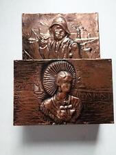 "Metal Copper & Wood Letter Bill Mail Organizer Holder Wall Mount 10""x7.5""x2.5"""