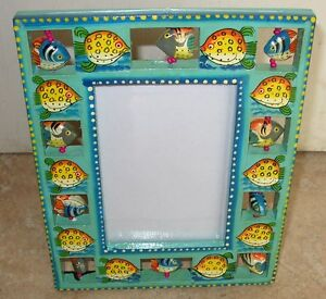 NOVELTY BLUE WOODEN FISH FRAME 8.X 6 INCH - T4