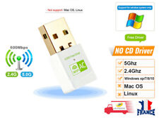 600Mbps USB WiFi Adapter Dongle 11ac Dual Band 2.4GHz 5GHz PC Network LAN Blanc