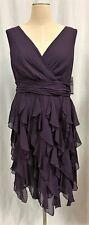 Ivy & Blu Dark Purple V-Neck Ruffle Dress Plus Sz. 20W NWT $218