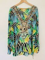 CAMILLA FRANKS Reef BLOUSE TOP White Green Blue Beaded Long Sleeve Silk RARE