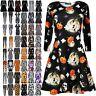 Ladies Pumpkin Scary Bats Skulls Smock Skater Dress Womens Halloween Swing Dress