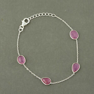 Beautiful 925 Sterling silver Ruby stone Bracelet Jewelry for gift
