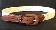 Lands End Vintage Belt Mens Size 30 Ivory Stretch Fabric Brown Leather Tabs USA